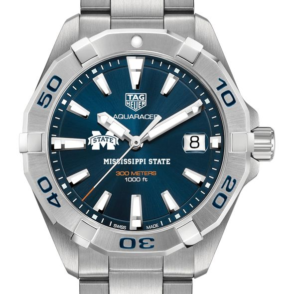 Mississippi State Men's TAG Heuer Steel Aquaracer with Blue Dial