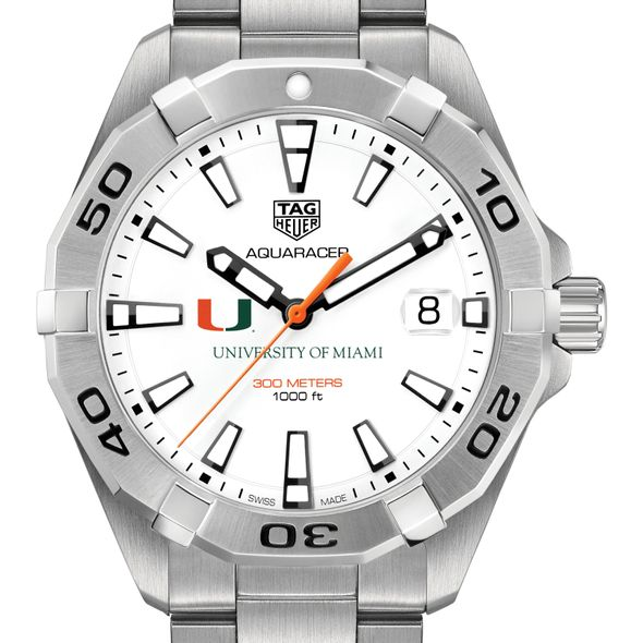 University of Miami Men's TAG Heuer Steel Aquaracer - Image 1