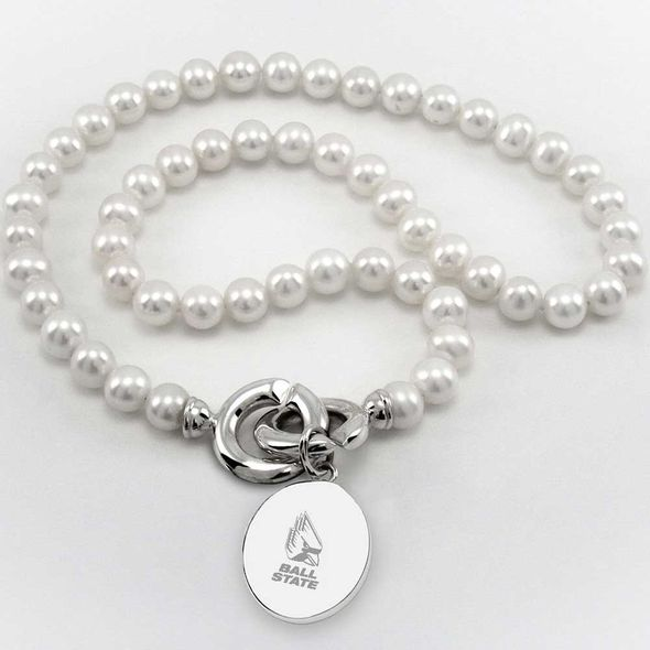 Ball State Pearl Necklace with Sterling Silver Charm - Image 1