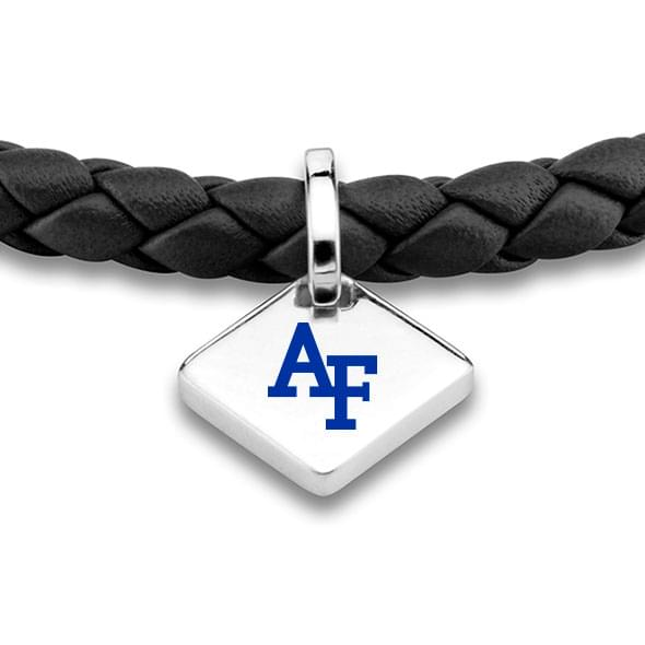 USAFA Leather Bracelet with Sterling Silver Tag - Black - Image 2