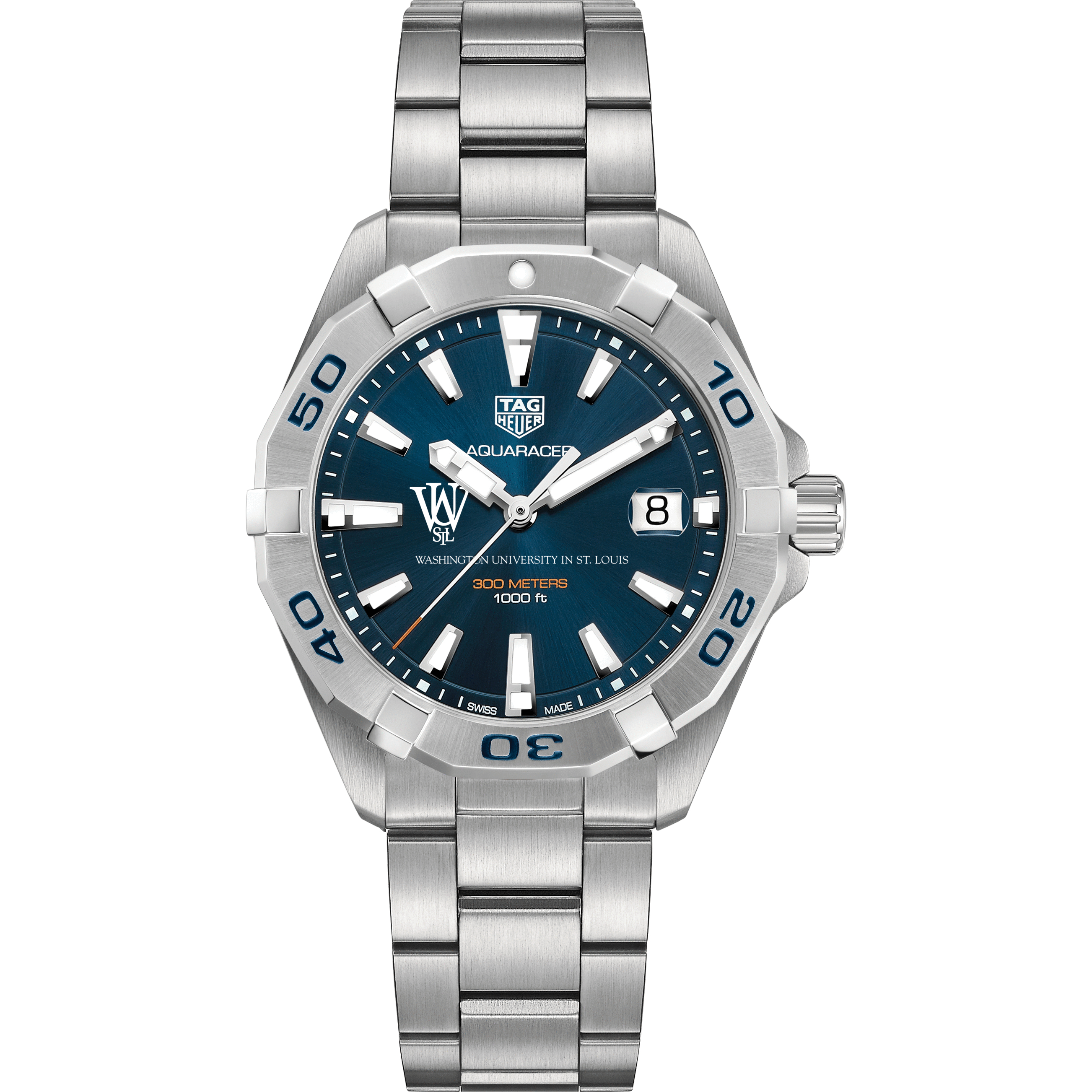 WUSTL Men's TAG Heuer Steel Aquaracer with Blue Dial - Image 2