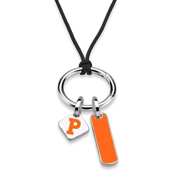 Princeton University Silk Necklace with Enamel Charm & Sterling Silver Tag - Image 2