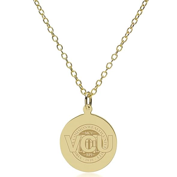VCU 18K Gold Pendant & Chain - Image 2
