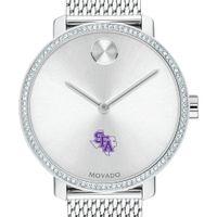 SFASU Women's Movado Bold with Crystal Bezel & Mesh Bracelet