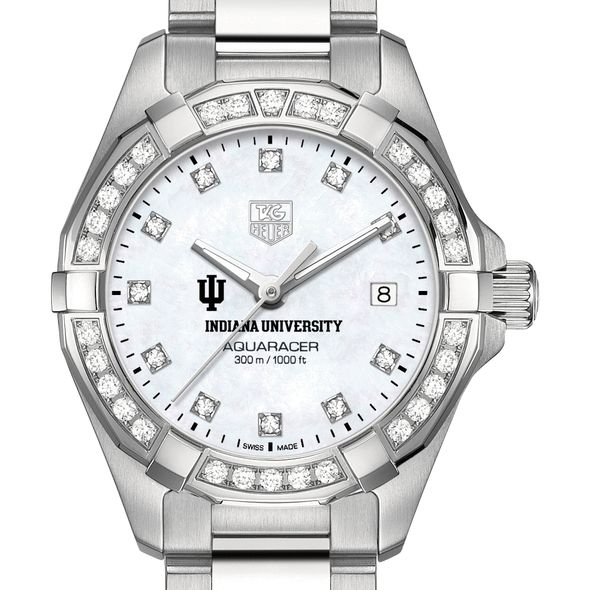 Indiana University W's TAG Heuer Steel Aquaracer with MOP Dia Dial & Bezel