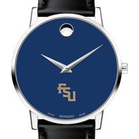 Florida State University Men's Movado Museum with Blue Dial & Leather Strap