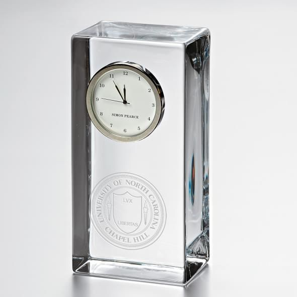 UNC Tall Glass Desk Clock by Simon Pearce
