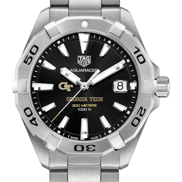 Georgia Tech Men's TAG Heuer Steel Aquaracer with Black Dial