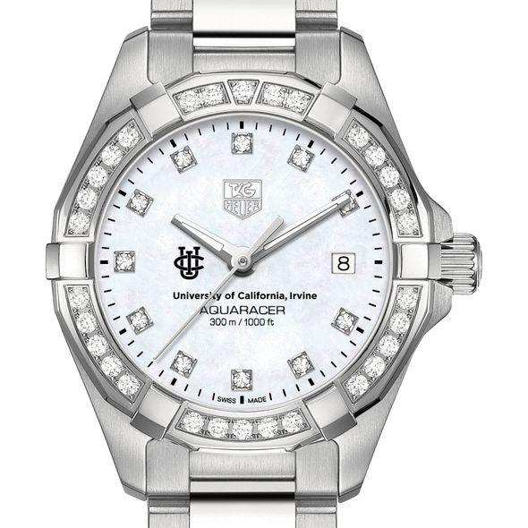 University of California, Irvine Women's TAG Heuer Steel Aquaracer with MOP Diamond Dial & Bezel - Image 1