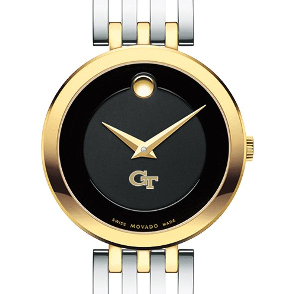Georgia Tech Women's Movado Esparanza Two-Tone Museum with Bracelet
