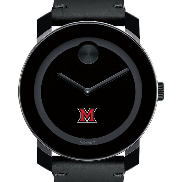 Miami University Men's Movado BOLD with Leather Strap