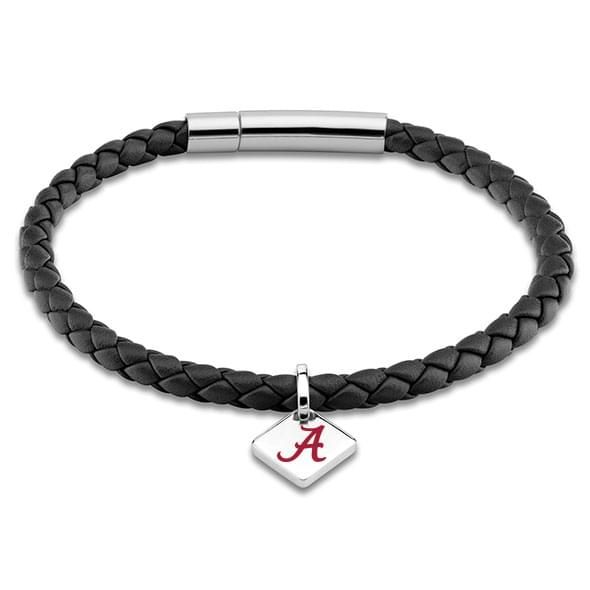 Alabama Leather Bracelet with Sterling Silver Tag - Black - Image 1