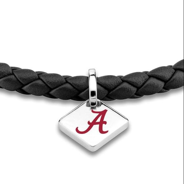 Alabama Leather Bracelet with Sterling Silver Tag - Black - Image 2