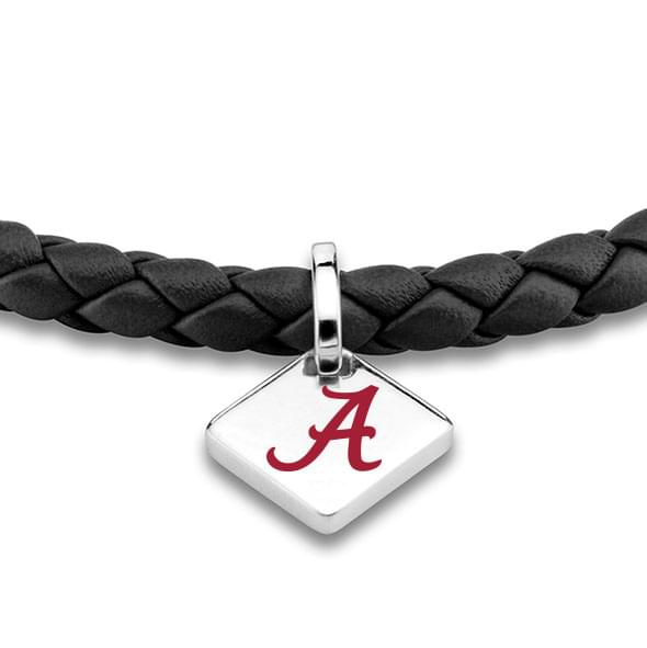 Alabama Leather Bracelet with Sterling Silver Tag - Black - Image 2