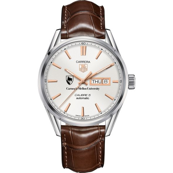 Carnegie Mellon University Men's TAG Heuer Day/Date Carrera with Silver Dial & Strap - Image 2