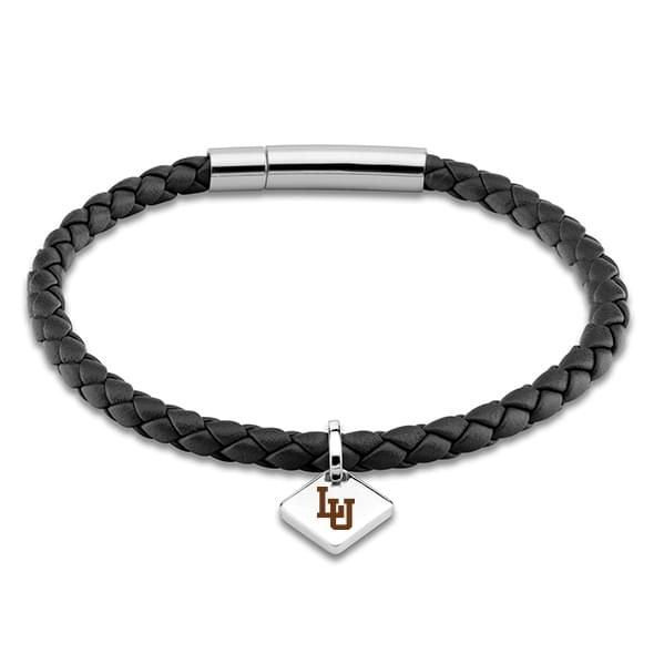 Lehigh University Leather Bracelet with Sterling Silver Tag - Black