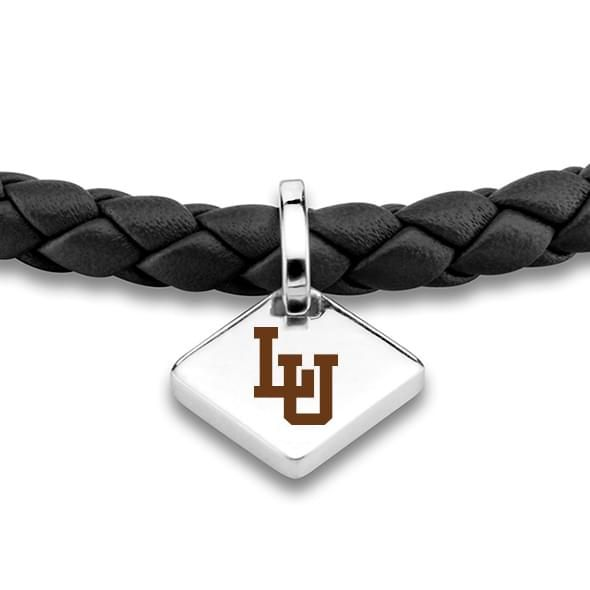 Lehigh University Leather Bracelet with Sterling Silver Tag - Black - Image 2