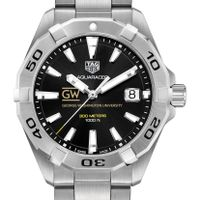 George Washington University Men's TAG Heuer Steel Aquaracer with Black Dial