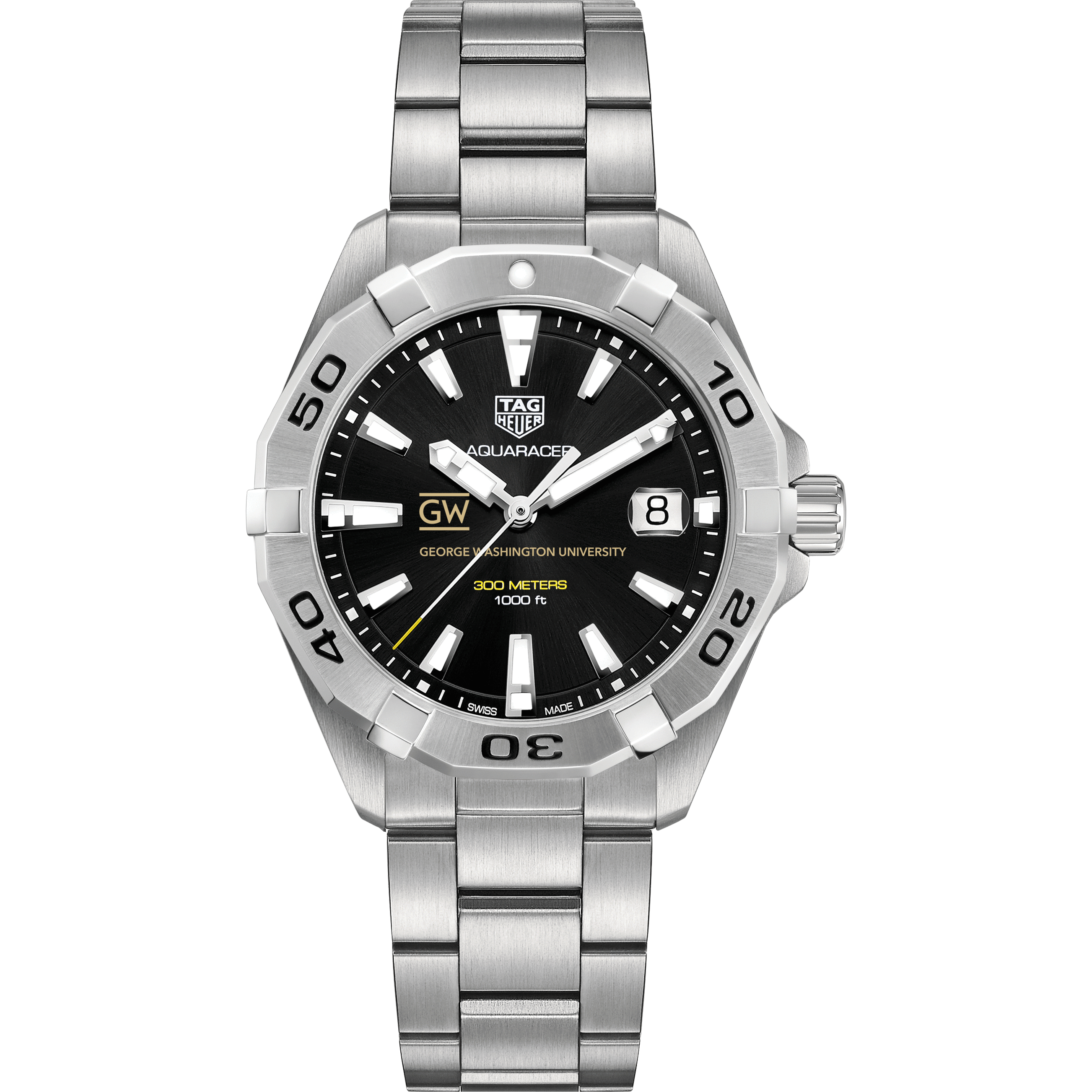 George Washington Men's TAG Heuer Steel Aquaracer with Black Dial - Image 2