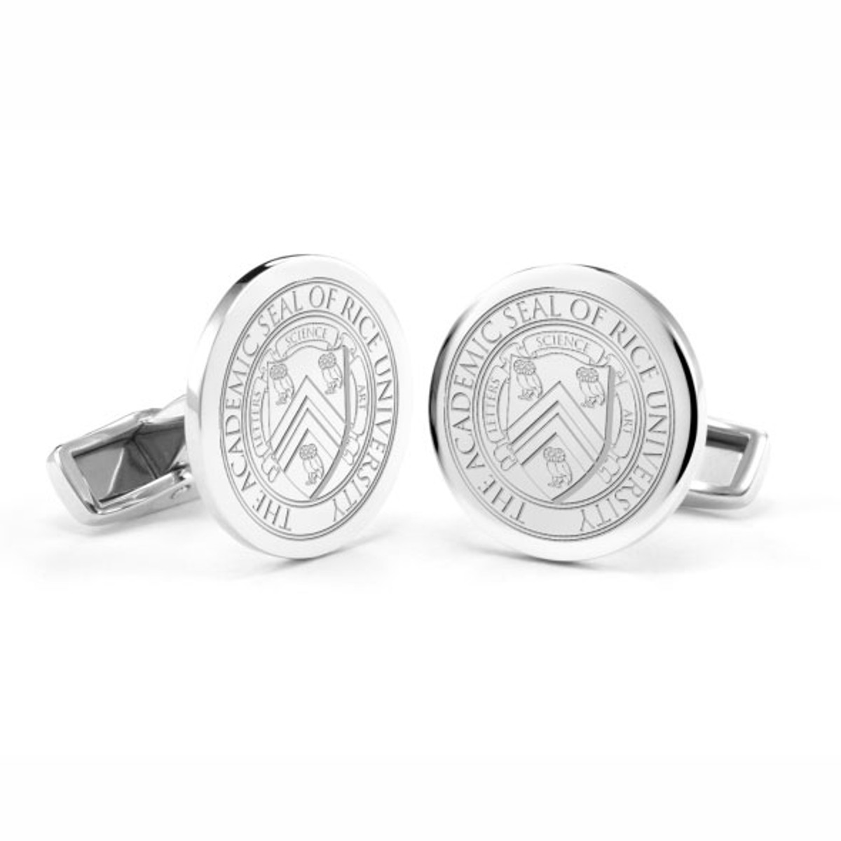 rice university cufflinks in sterling silver