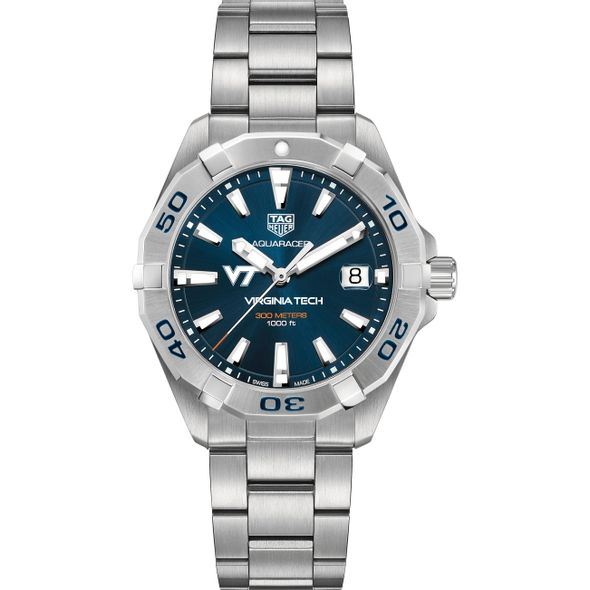 Virginia Tech Men's TAG Heuer Steel Aquaracer with Blue Dial - Image 2