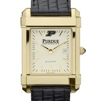 Purdue University Men's Gold Quad with Leather Strap