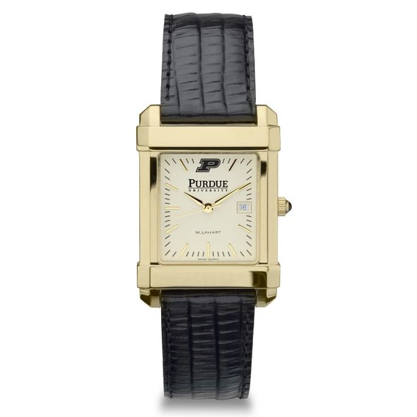 Purdue University Men's Gold Quad with Leather Strap - Image 2