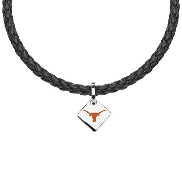 University of Texas Leather Necklace with Sterling Silver Tag