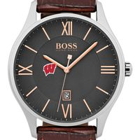 University of Wisconsin Men's BOSS Classic with Leather Strap from M.LaHart