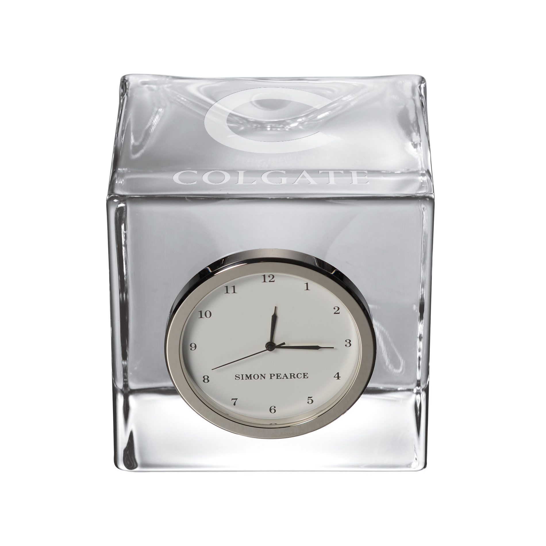 Colgate Glass Desk Clock by Simon Pearce