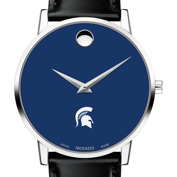Michigan State University Men's Movado Museum with Blue Dial & Leather Strap