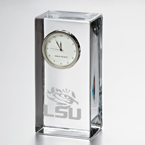 LSU Tall Class Desk Clock by Simon Pearce