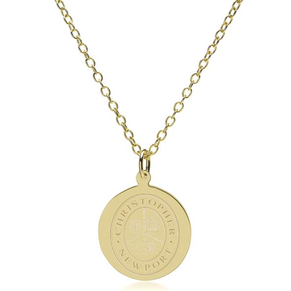 Christopher Newport University 14K Gold Pendant & Chain - Image 2