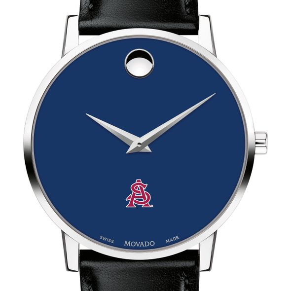 Arizona State Men's Movado Museum with Blue Dial & Leather Strap