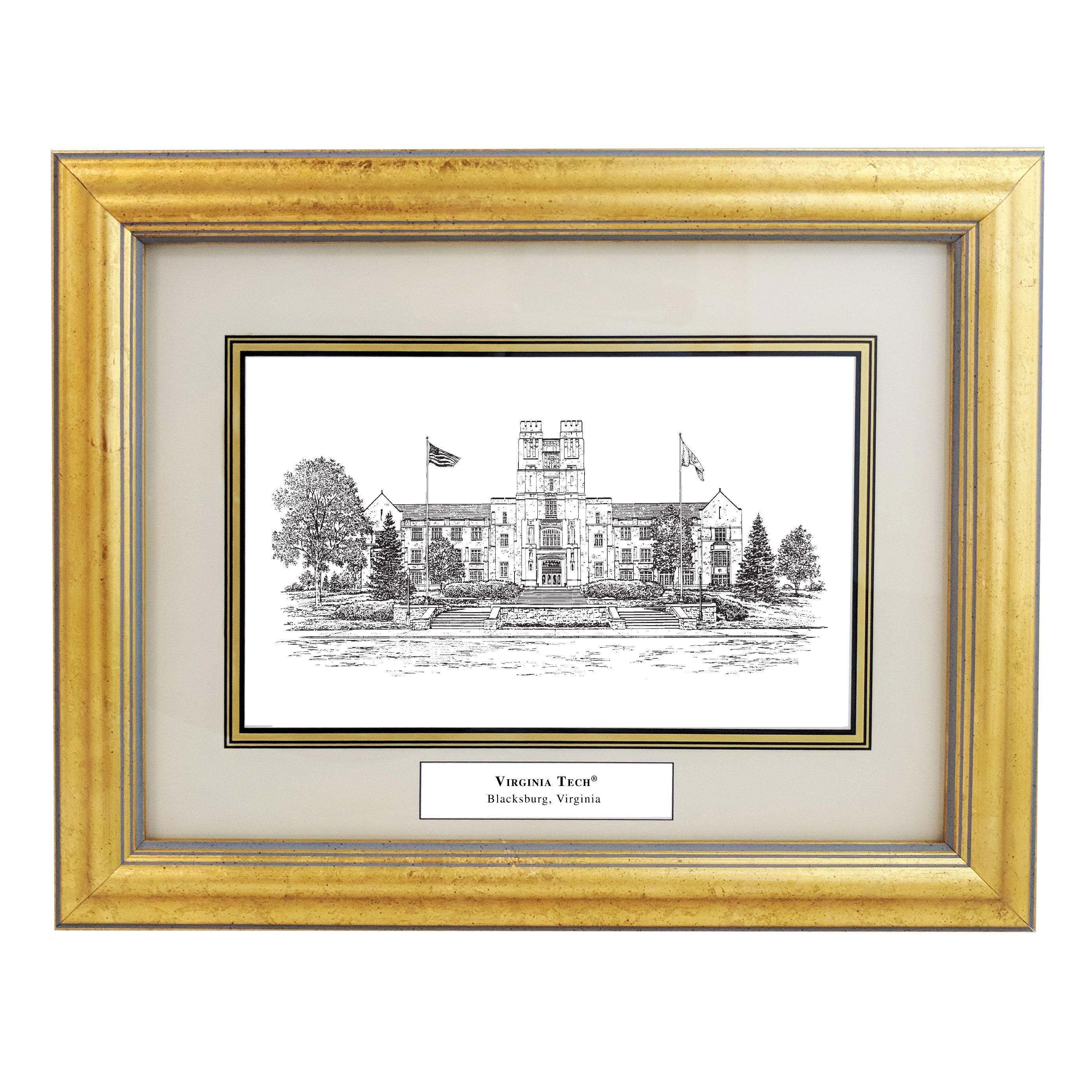 Virginia Tech Pen And Ink Framed Desk Print