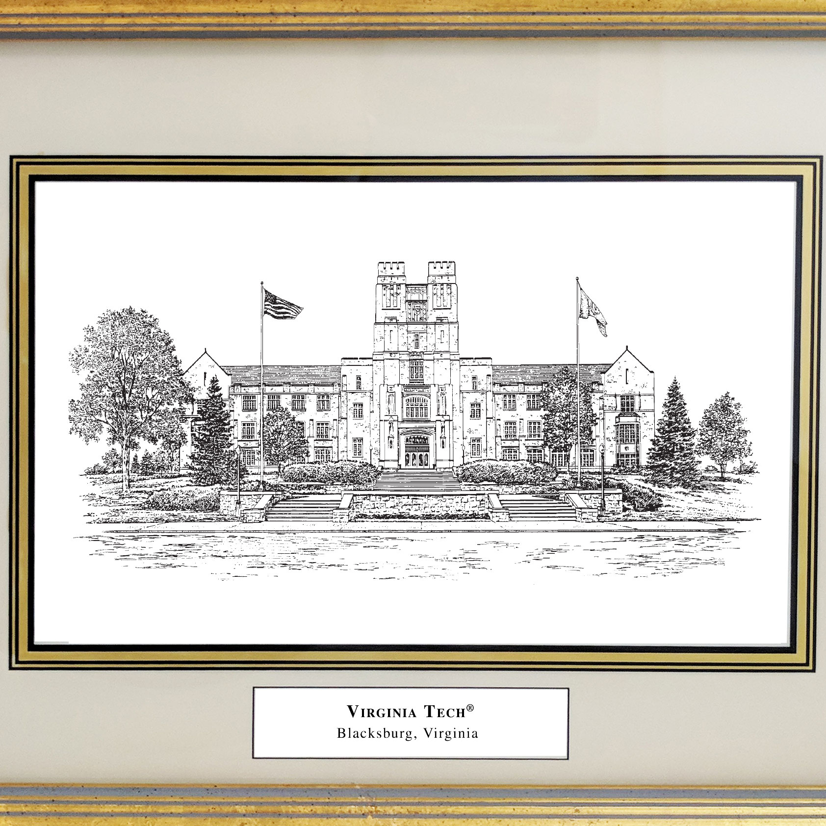 Framed Pen and Ink Virginia Tech Print - Image 2