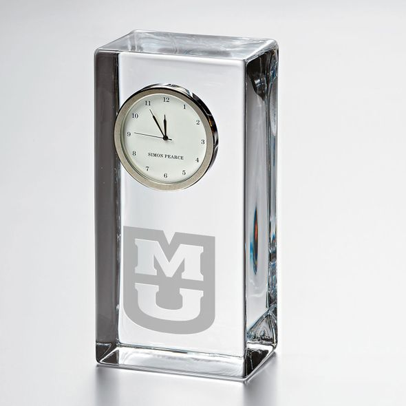 University of Missouri Tall Glass Desk Clock by Simon Pearce