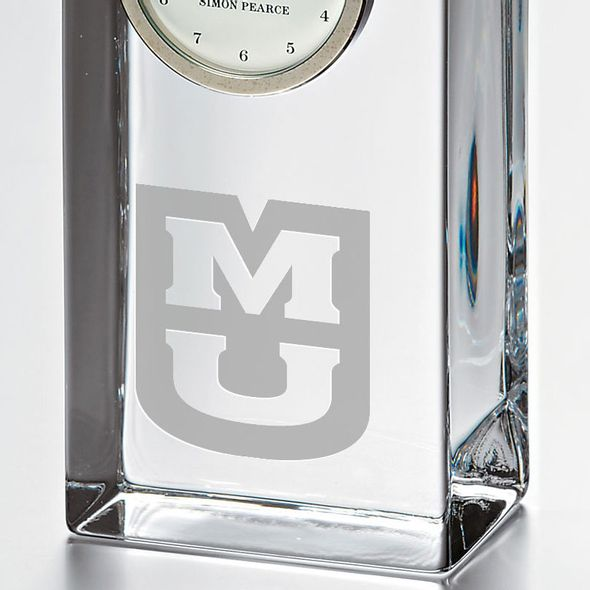 University of Missouri Tall Glass Desk Clock by Simon Pearce - Image 2