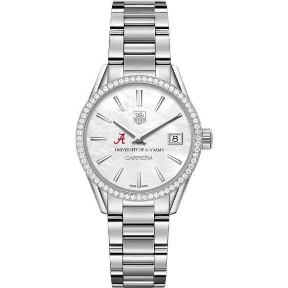 University of Alabama Women's TAG Heuer Steel Carrera with MOP Dial & Diamond Bezel - Image 2