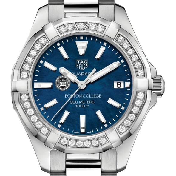 Boston College Women's TAG Heuer 35mm Steel Aquaracer with Blue Dial