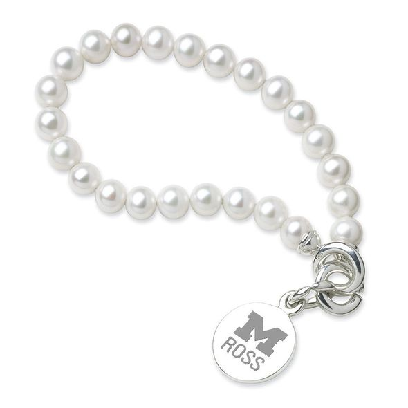 Michigan Ross Pearl Bracelet with Sterling Silver Charm - Image 1