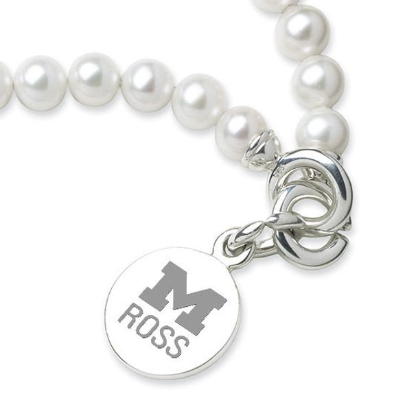Michigan Ross Pearl Bracelet with Sterling Silver Charm - Image 2