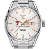 Texas Tech Men's TAG Heuer Day/Date Carrera with Silver Dial & Bracelet