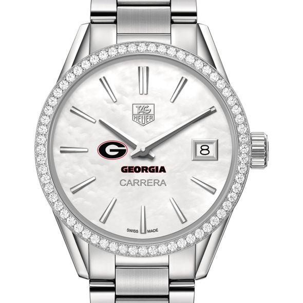 University of Georgia Women's TAG Heuer Steel Carrera with MOP Dial & Diamond Bezel