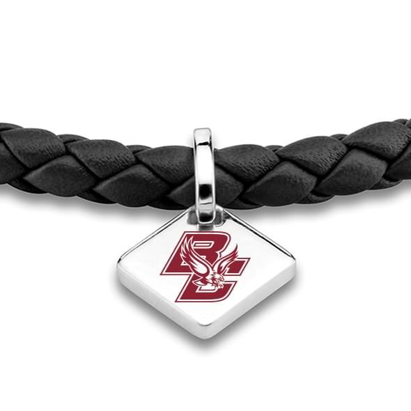 Boston College Leather Bracelet with Sterling Silver Tag - Black - Image 2