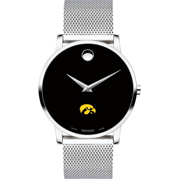 University of Iowa Men's Movado Museum with Mesh Bracelet - Image 2
