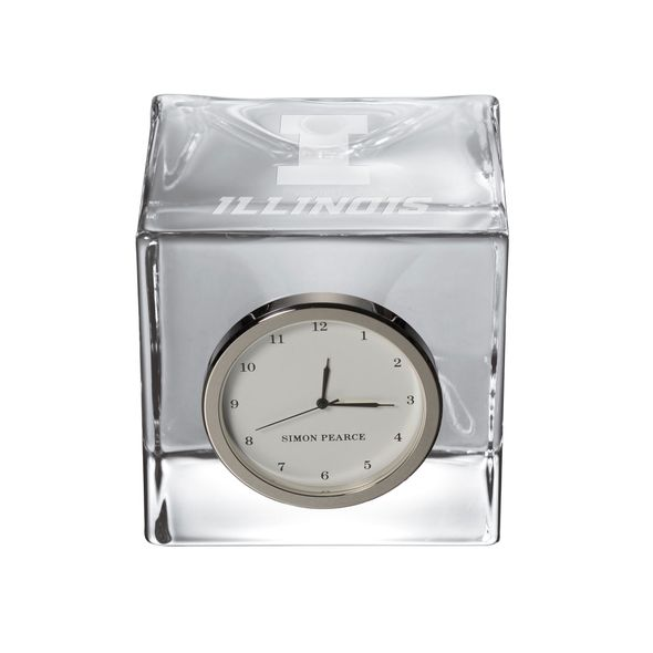 University of Illinois Glass Desk Clock by Simon Pearce