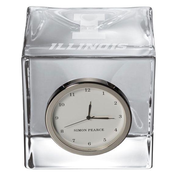 University of Illinois Glass Desk Clock by Simon Pearce - Image 2