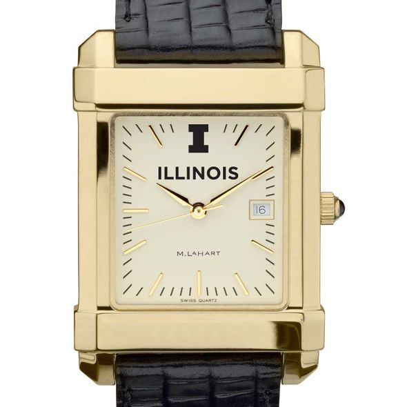 University of Illinois Men's Gold Quad with Leather Strap