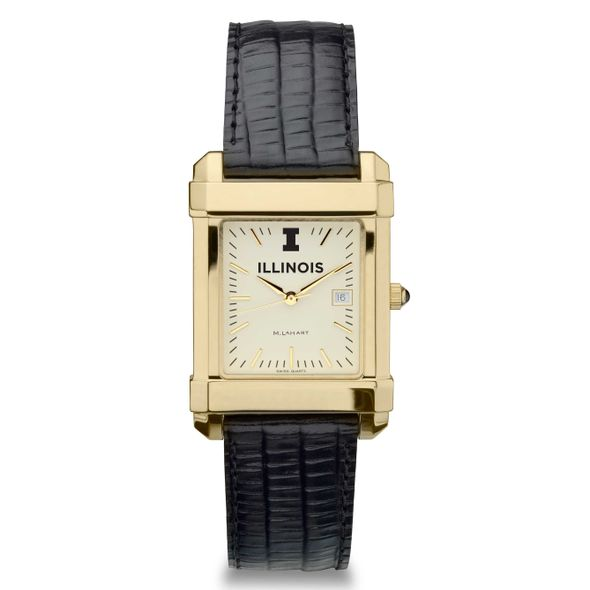 University of Illinois Men's Gold Quad with Leather Strap - Image 2